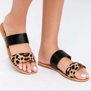 Shoes - NEW Black & Leopard Strappy Flat Sandals size 5.5